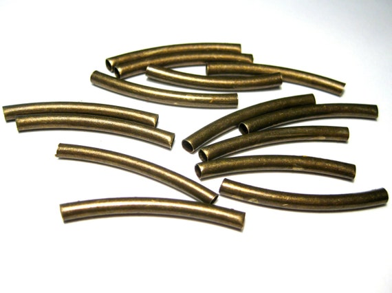 Pcs antique bronze plated curved tube spacers beads metal