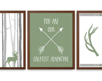 Boys Nursery Art - Animal Nursery Art - Green And Blue Nursery - Chevron Nursery - Stag Wall Art - Set Of Three Prints