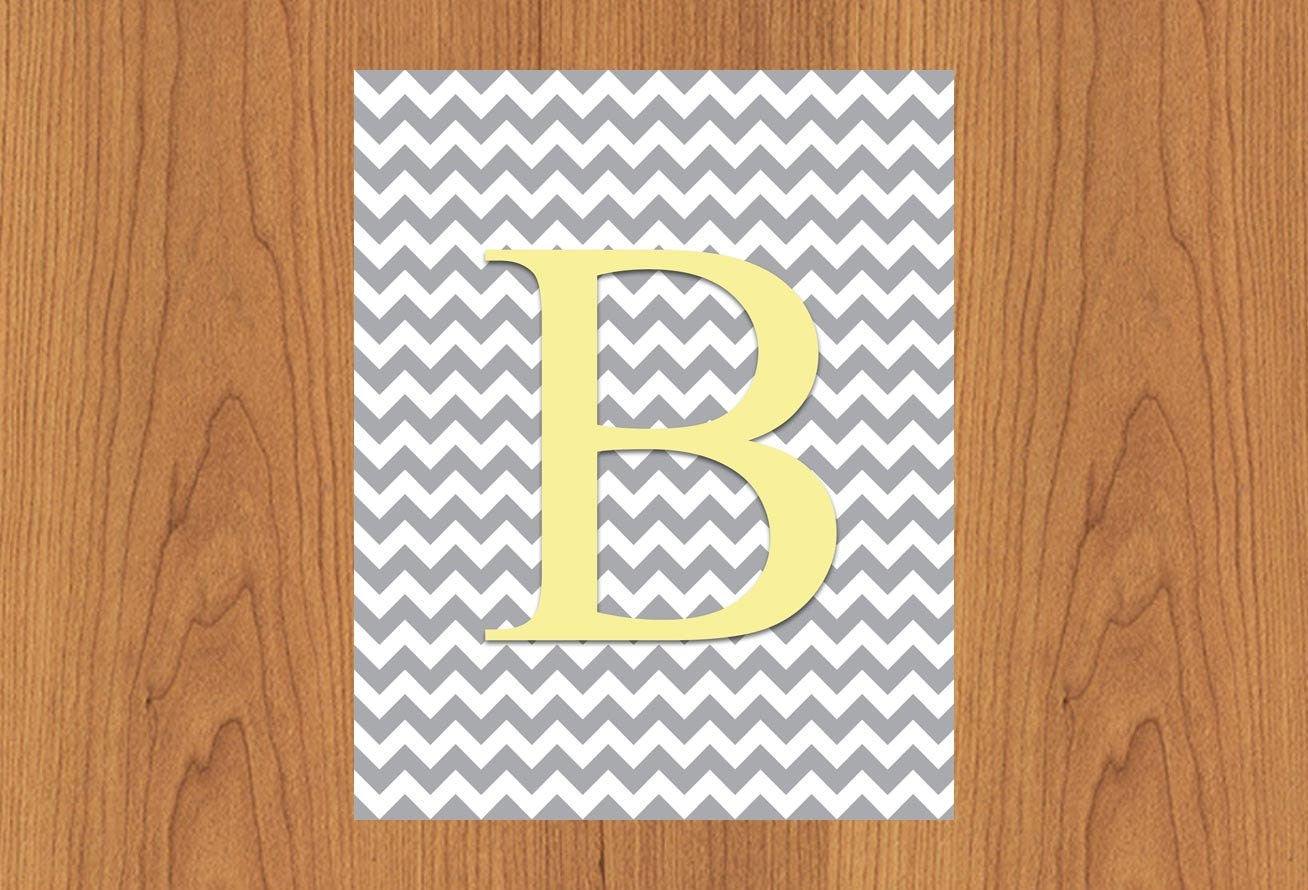 Wall Decor Letter B : Letter b wall art print grey yellow nursery decor chevron