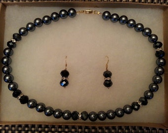 Grey and Black Necklace and Earring Set