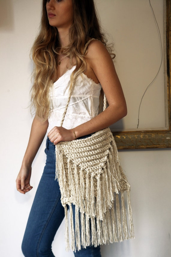 Crochet Fringe Bag : , ecru crochet fringed shoulder bag, natural linen cotton fringed bag ...