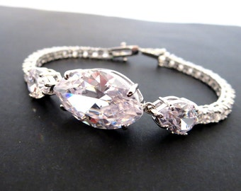 Crystal Bridal bracelet, CZ Wedding bracelet, Rhinestone Bridal bracelet, CZ Bridesmaid Bracelet, Simple wedding bracelet, Crystal jewelry