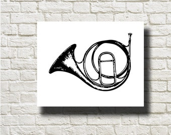 Horn Musical Instrument Ornament Decoration Printable Graphics Instant Download  DG13033