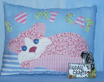 I Love My Cat  Applique Cushion Sewing Pattern by  Wendy  Wadge