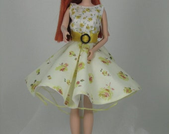 Barbie Clothes. Lovely Liberty fabric dress with petticoat for Barbie, Silkstone Barbie and Fashion Royalty Dolls