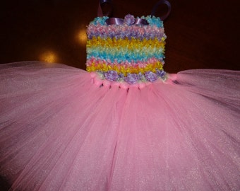 Fuzzy Chenille Crochet Top Tutu Dress in pastel colors  Ready to ship in Size 18 -24 months