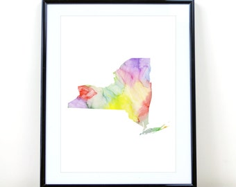 New York State Wall Art, Watercolor Print INSTANT DOWNLOAD