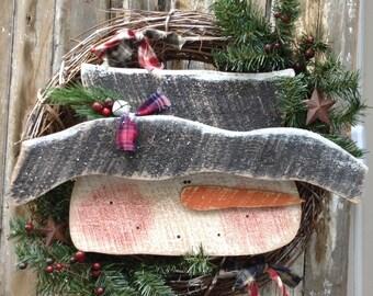 Primitive Snowman wreath, Country Primitive, Wood Snowman, Primitive snowmen, snowman, snowman wreath, winter decor, primitive wood snowman
