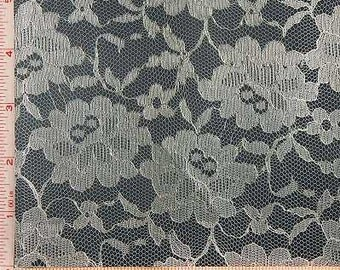 """Cream Beige Big Flower Lace Fabric Polyester 58-60"""""""