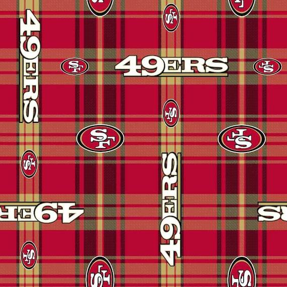 san francisco 49ers football plaid anti pill polar fleece plush fabric polyester 13 oz 58 60. Black Bedroom Furniture Sets. Home Design Ideas