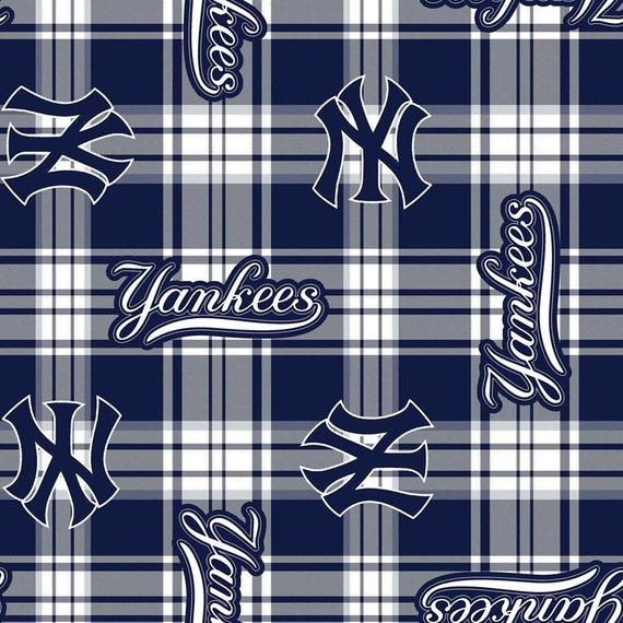 new york yankees baseball plaid anti pill polar fleece plush. Black Bedroom Furniture Sets. Home Design Ideas