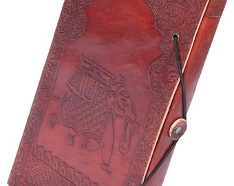 Unlined Journal with Handmade Paper - Vintage Look Elephant Design Brown Retro Notebook / Sketchbook / Daily Diary / Travel Diary