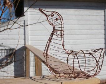 Vintage Wire Egg Basket Copper Duck / Goose