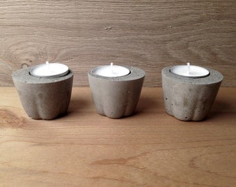 set of 3 Concrete Tea Candle Holder