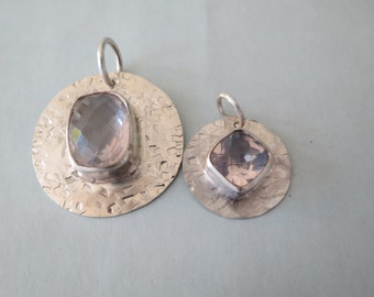 Sterling Rose Quartz Mother and Daughter Pendants
