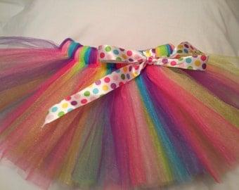 Rainbow Polka Dot Tutu, infant tutu, baby tutu, newborn tutu, toddler tutu, preemie tutu, 1st birthday tutu, birthday tutu, Easter tutu