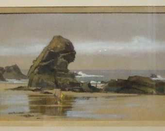 Original Watercolour painting Sheila MacLeod Robertson Newlyn School   RSMA listed artist painting Porthcothan Cornwall Freight cost extra