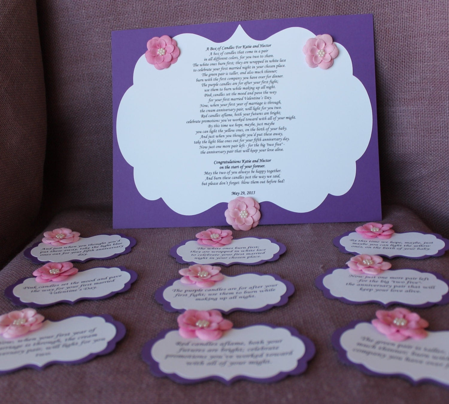 Wedding Shower Candle Poem pink and purpleTag Set. Bridal