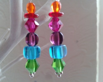 Gorgeous rainbow earrings in Czech glass and sterling silver