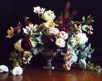 Large floral arrangement in old  Dutch masters style. In a vintage silver plate compote
