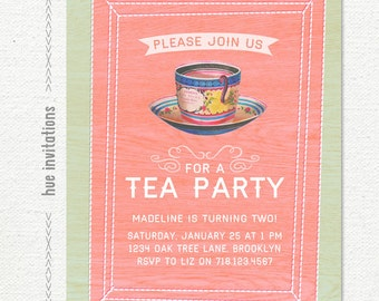 tea party 2nd birthday invitation, girls tea party invite, little girls 2nd birthday, time for tea shabby invitation, 5x7 jpg pdf 587