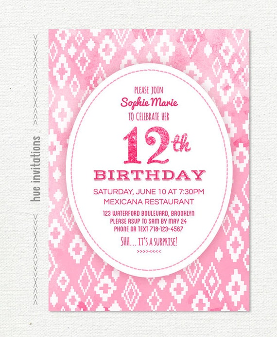 Items similar to pink glitter 12th birthday invitation for girls – 12th Birthday Invitations