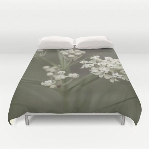 Duvet Cover, Wildflower Photo, Nature Photography, Grey and White, Romantic Bedding, Bedroom Decor, White Flowers, Iowa Fine Art, Home Decor