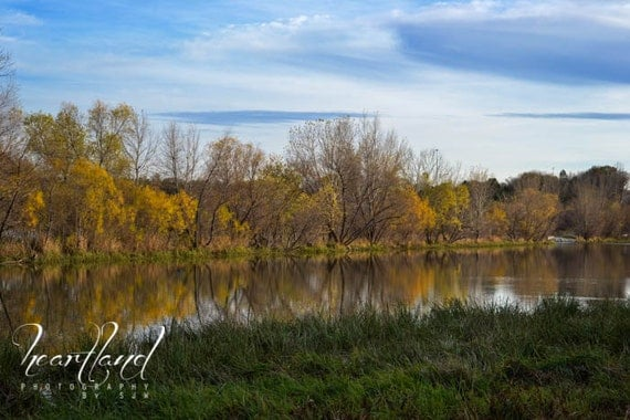 Nebraska Images, Fall Colors, Lake Reflection, Yellow and Green, Pretty Clouds, Water Landscape, Autumn Day, Nature Photography, Midwest