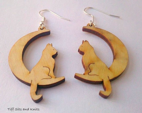 items similar to cat on the moon wooden dangle earrings on