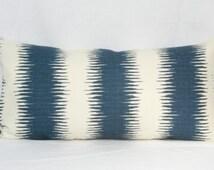 Blue natural tribal stripe throw pillow cover 12x20 12x24 14x24 14x26 16x24 16x26 Ikat pillow Blue lumbar pillow Navy Indigo denim blue