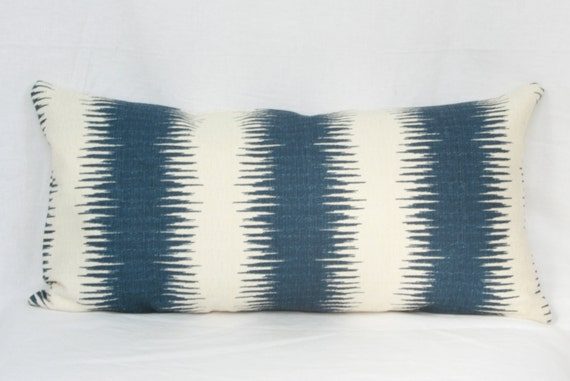blue natural tribal stripe throw pillow cover