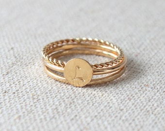 Initial Stacking Ring | Personalized Gift | Stamped Initial | Stacking Rings [Letra Ring Trio]