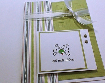 Get Well Card Greeting Card Get Well Wishes Greeting Card Handmade Card Hand stamped Card Get Better Soon Card