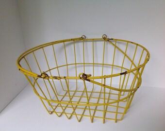 Vintage Yellow Farm Basket