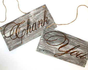 Reversible Bride and Groom Chair Signs, Thank You, Rustic Reversible Wedding Signs, Wedding Signs, Wedding Photo Props
