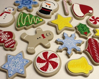 12 Wooden photography prop christmas cookies