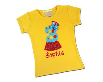 Girl's Birthday Shirt with Circus Number, Top Hat and Embroidered Name