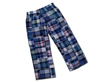 Boy's Plaid Pants, Tartan Trousers - Blue, White, Green, Red - M27