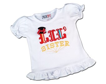 Girl's Circus Shirt with 'Lil Sister' in Girls Circus Stripes