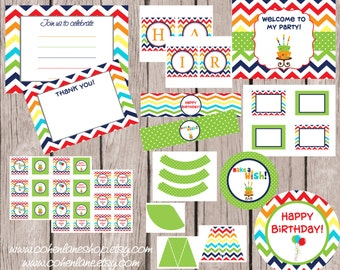 INSTANT DOWNLOAD Printable Basic Chevron Birthday Party Package. Digital You Print Party Package. Primary color Printable Party Package.