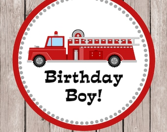 Instant Download Printable Birthday Boy Firetruck Tshirt Iron on Transfer Design. Fire Truck Iron On Transfer.  Birthday Boy Iron on.
