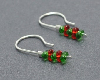 Christmas Earrings, Xmas Earrings, Sterling Silver, 20 Gauge, Ear wires, Everyday, Red and Green