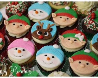 Christmas fondant cupcake toppers
