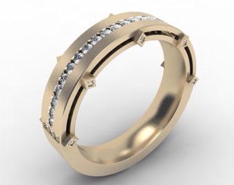 Mens Gold Wedding Band 14k Brushed Finish Yellow Gold Wedding Band 5.8mm with Round FSI1 Diamonds  Wedding Band Ring Mens Ring Mens Band