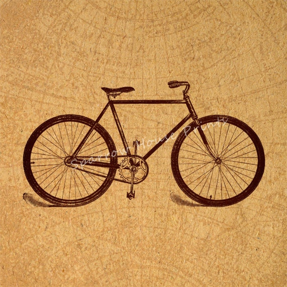 Antique old bicycle wall art bike home decor vintage print in for Bicycle decorations home