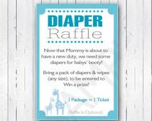 Printable DIY Blue Safari Baby Shower Diaper Raffle Invitation Inserts