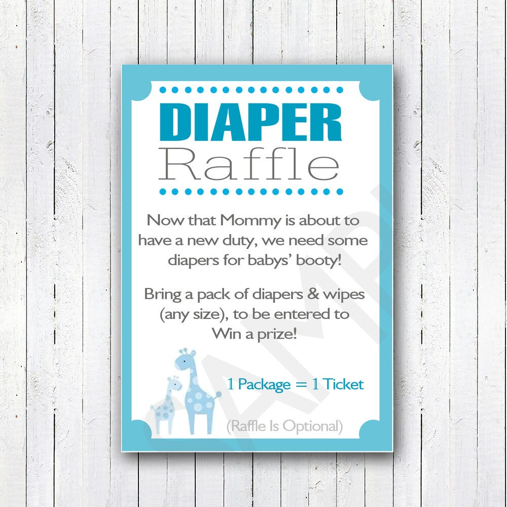 Baby Shower Diaper Raffle: Printable DIY Blue Safari Baby Shower Diaper Raffle Invitation