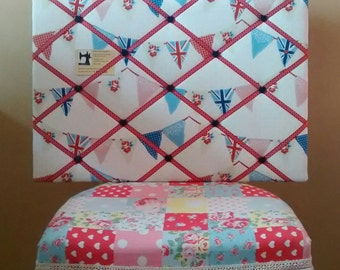 Fabric notice board - Bunting blue