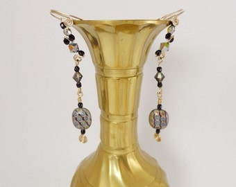 Black and Gold Ear Cuffs, pair, with gold filled wire, Czech Beads and Swarovski beads with a delicate and classy sparkle.