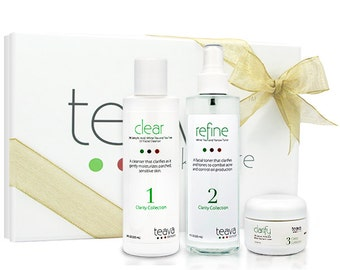 Acne Treatment 3 Piece Holiday Gift Set - Natural & Organic Ingredients - Gift Box Included - Includes Acne Cleanser, Toner, Day Cream